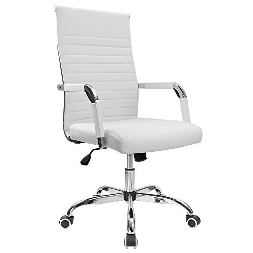 Furmax Ribbed Office Desk Chair Mid Back Leather Executive Conference Task Adjule Swivel With Arms White